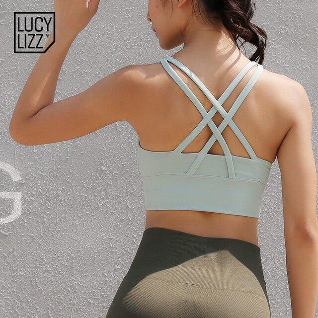 8295662f6192f Lucylizz Sexy Cross Sport Bra Top Women Running Fitness Yoga Bra Gym Active  Wear Push Up