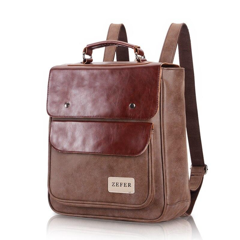 Vintage Fashion Unique Design Men's bag Backpack Nubuck leather male student bag high school male Backpack Casual Travel bags