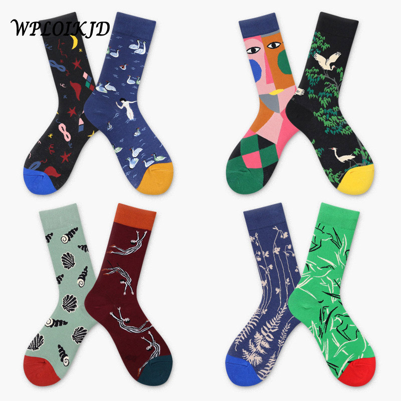 [WPLOIKJD]Funny Socks Art Abstract Cotton Male Animal Socks Women Unisex Happy Gift Socks Female Calcetines Mujer Divertidos