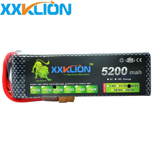 XXKLION Lipo Battery 4S 14.8v 5200mah 30c 35C T XT60 Plug RC Helicopter RC Car RC Boat Quadcopter Remote Control toys Battery