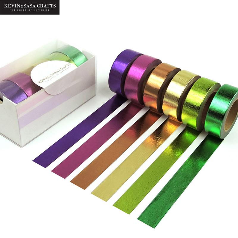 6Pcs/Set Foil Washi Tape Set Scrapbooking Color Masking Tape Japanese Stationery Kawaii Decorative Tape Scotch Rainbow Paper Diy 1 5cm 7m brief style blue series decorative washi tape scotch diy scrapbooking masking craft tape school office supply