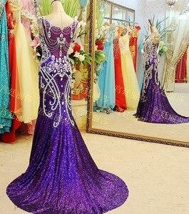 Image 3 - Женское вечернее платье с юбкой годе, фиолетовое платье с V образным вырезом и блестками, расшитое бисером, роскошное сексуальное платье для невесты, платье для выпусквечерние вечера JO3, 2020