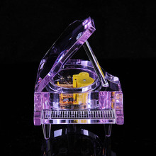 Piano Music Box Crystal Piano Shape DIY Music Box for Lover Children Birthday Gift 4 Colors Crystal Electronics Musical