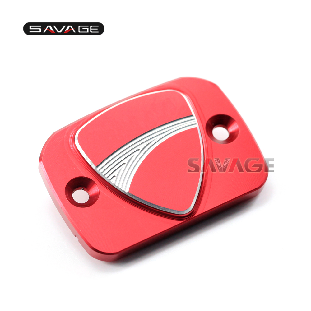 For DUCATI MONSTER 659696796821 Hypermotard 796821939 Motorcycle CNC Front Brake Reservoir Covers Cap Accessories LOGO