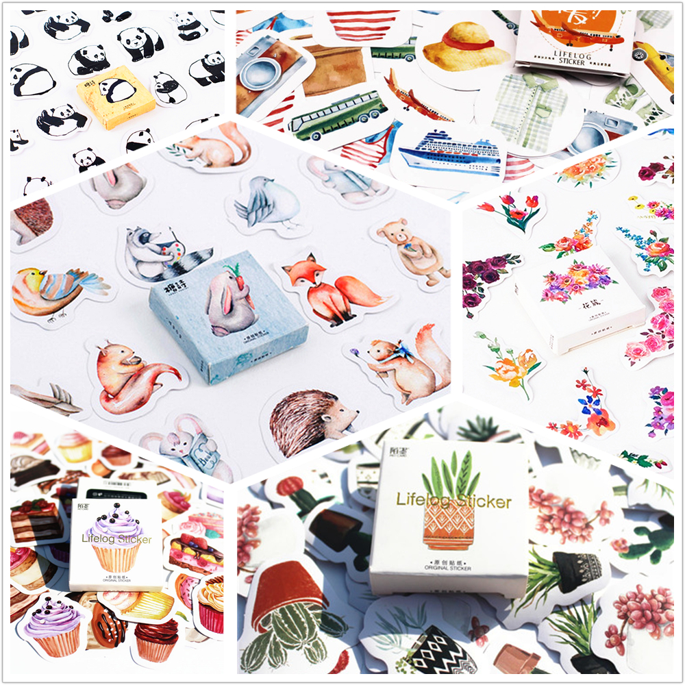 LOLEDE 45pcs/pack Flowers Totem Memo Stickers Pack Posted It Kawaii Planner