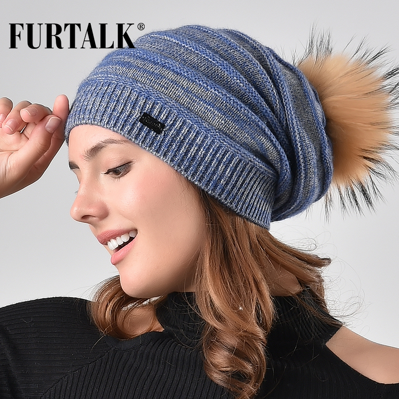 FURTALK winter women hat real raccoon fur hats wool rabbit hair   skullies     beanies   slouchy hat girl AD006