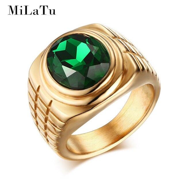 e7fa7dd052ad5 Milatu العليا الرجال خاتم الخطوبة الذهب لون الأزياء ستانلس ستيل للرجال  مجوهرات مع الأزرق الأسود