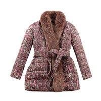 Le palais винтажное 2018 W роскошное шерстяное пальто из лисьего меха женское утепленное плотное пальто трапеция с меховым воротником