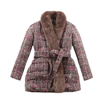 le palais vintage 2018W Luxury Fox Fur Tweeds Wool Coat Women Thicken Warm Fabric Fur Collar Adjustable Belt A line Coat