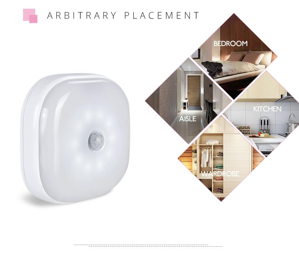 Under Cabinet Light PIR Motion Sensor Wireless Wall Lamp Smart LED Light Warbrobe Ceiling Closet Emergency Bedroom Kitchen Light (4)