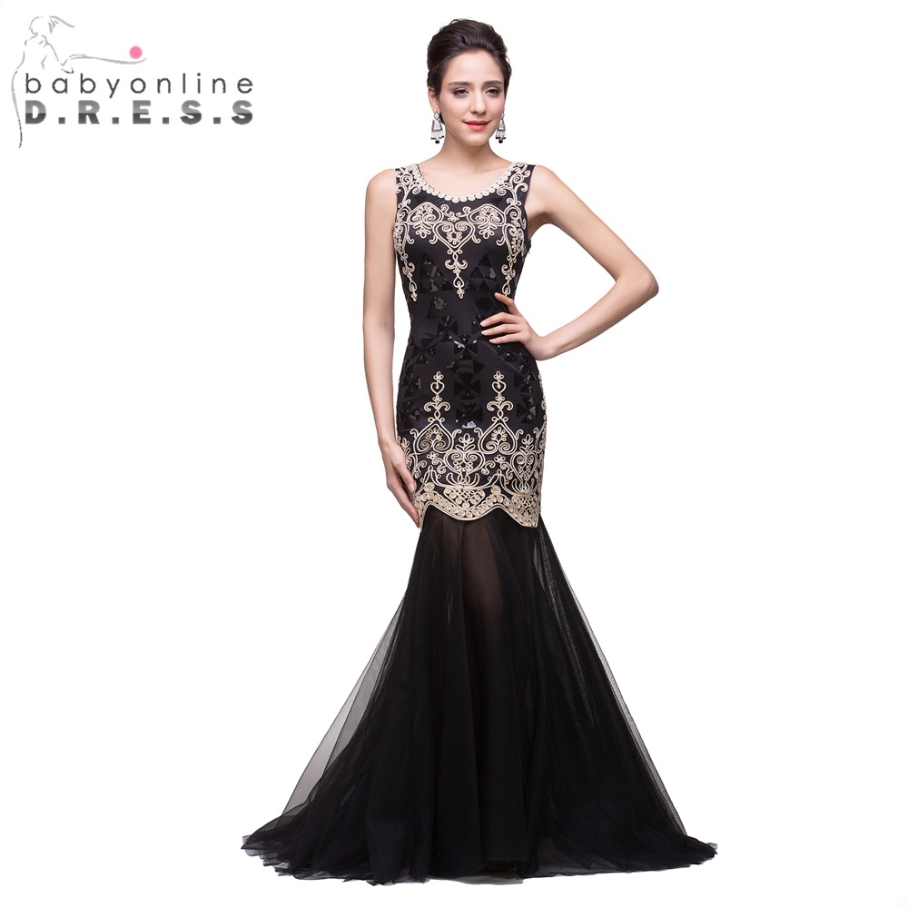 Babyonline Elegant Lace Appliques Sequins Mermaid Tulle Prom Dresses Long Sexy Black Evening Party Dress Vestido Longo