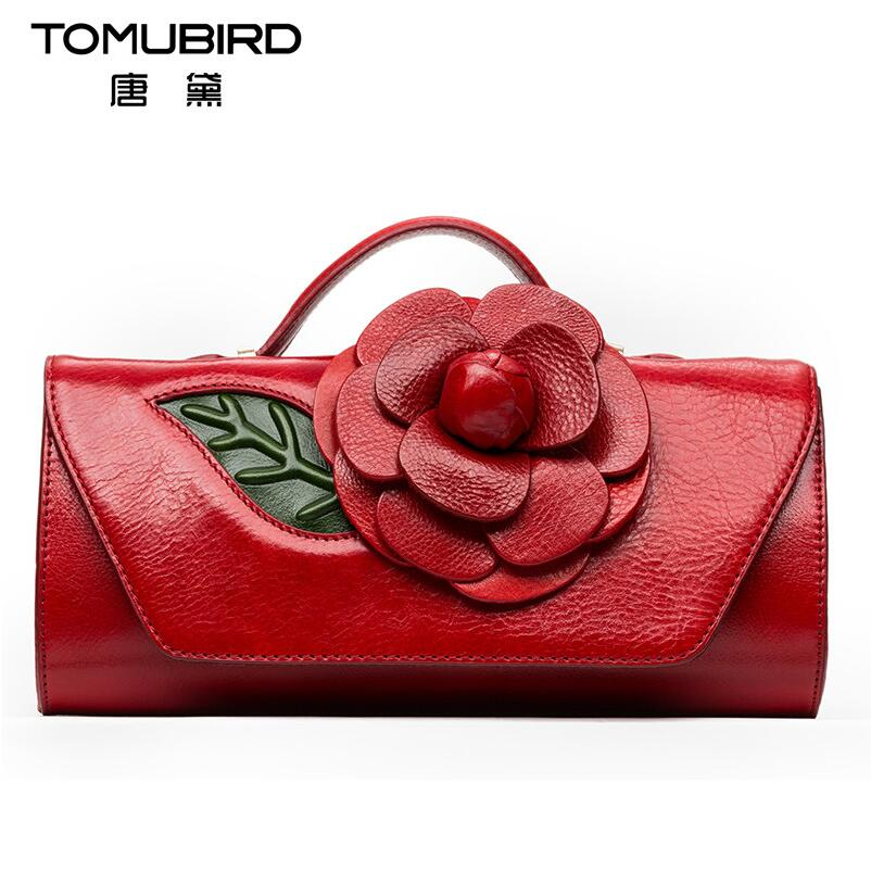 2017 New women genuine leather bag famous brands quality leather handmade dimensional flowers women handbags shoulder bag