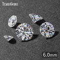 TransGems 6mm 0.8 Carat GH Cor Certified Lab Grown Moissanite Diamante Solto Bead Positivo do Teste Como Real Diamante Pedra Preciosa