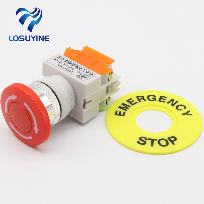 LHLL- Red Mushroom Cap 1NO 1NC DPST Emergency Stop Push Button Switch AC 660V 10A