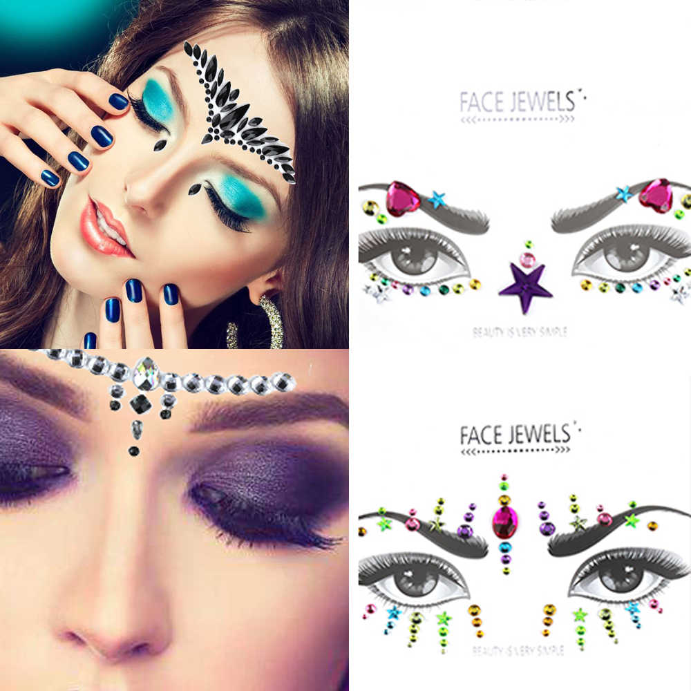 c953cf9366 Face Jewels Adhesive Sticker Face Jewels Gems Temporary Tattoo Festival  Party Makeup Body Gems Rhinestone Flash Tattoos Stickers