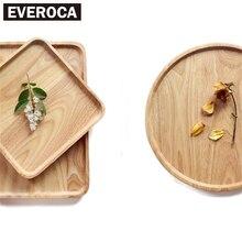 Naturkautschuk Holz Obstteller Getrocknet Holzschalen Snack Süßigkeiten Kuchen Halter Holz Regallagerschalen Gesunde Runde Dekoration