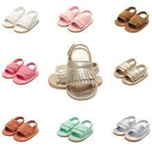 Microfiber Baby Girl Summer Sandals Tasseled Infant Toddler Baby Shoes 0-12 Months Sandals For Babies Anti Skid Bebek Sandalet недорого