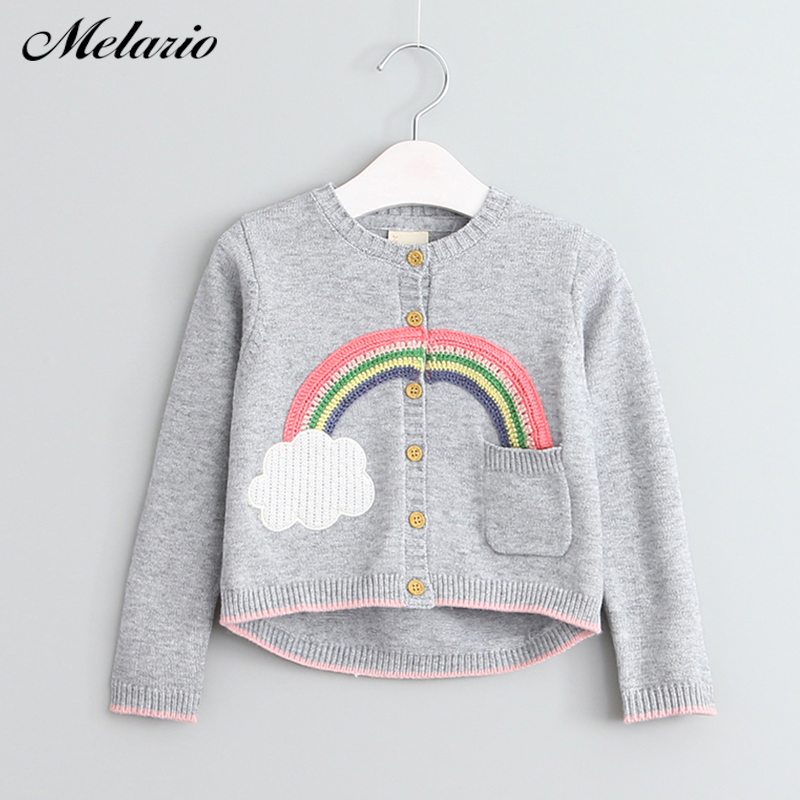 Melario Sweaters 2017 Winter Baby Girls Outwears Girls Clothing Rainbow Pattern Long Sleeve Outerwear O-neck Kids Knitwear