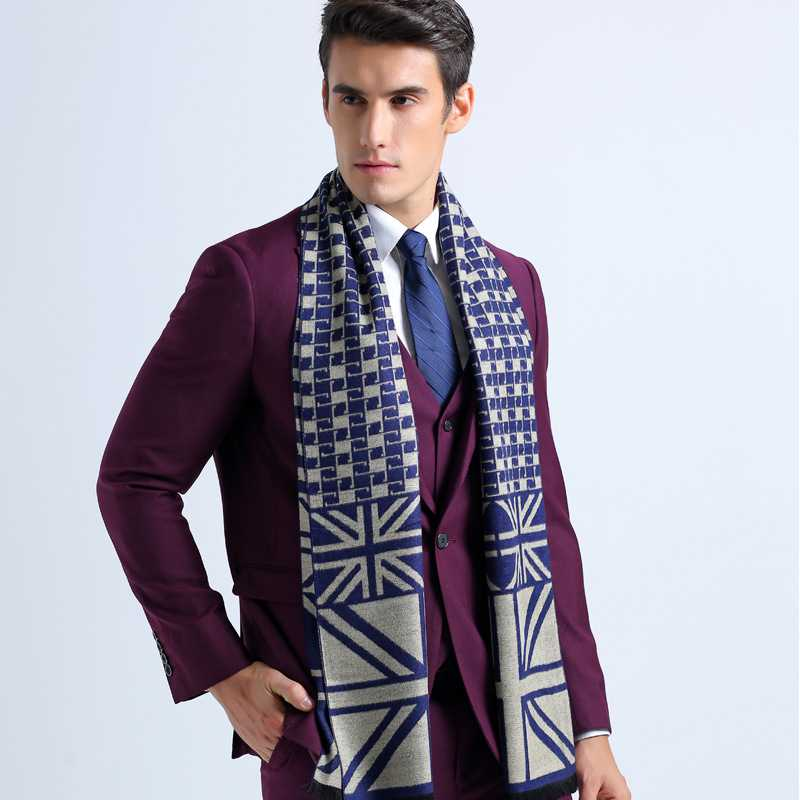2016 Winter Cotton font b Tartan b font Jacquard Scarf Luxury Brand Business Scarves Men Casual