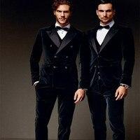 Winter Black Velvet Formal Men Suits Groom Groomsmen Tuxedos 2017 Peak Lapel Wedding men suit (Jacket+Pants+Vest+Bow Tie)
