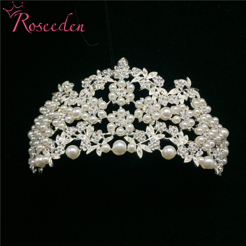 Korean Style Women Simulated-pearl Crown Female Rhinestone Beautiful Little Pearl Tiara Bridal Hair Wedding Accessories RE157 маленькая сумочка korean style 2015 crown 0155