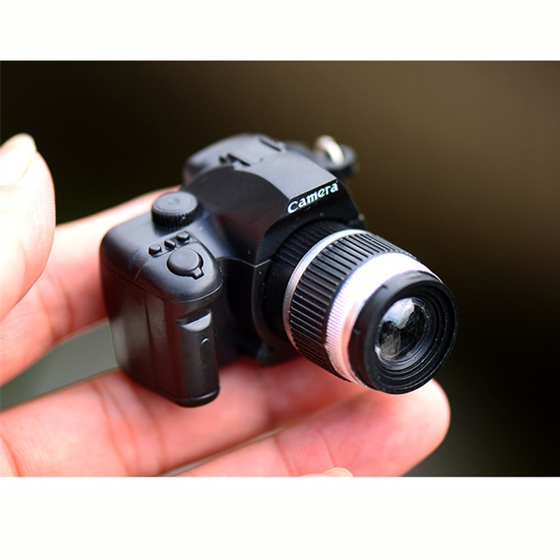 New LED Luminous Sound Glowing Pendant Keychain Bag Accessories Plastic Toy Camera Car Key Chains Kids Digital SLR Camera Toy