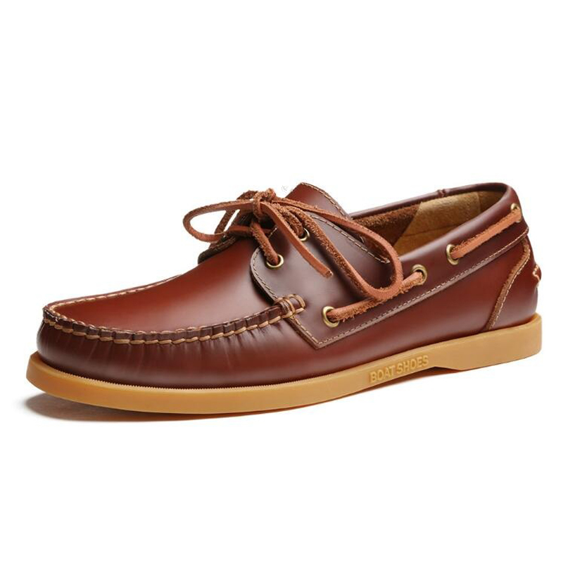 2017 Men Genuine Leather Boat Shoes Male British Style Brogue Flat Shoe Fashion Leisure Handmade