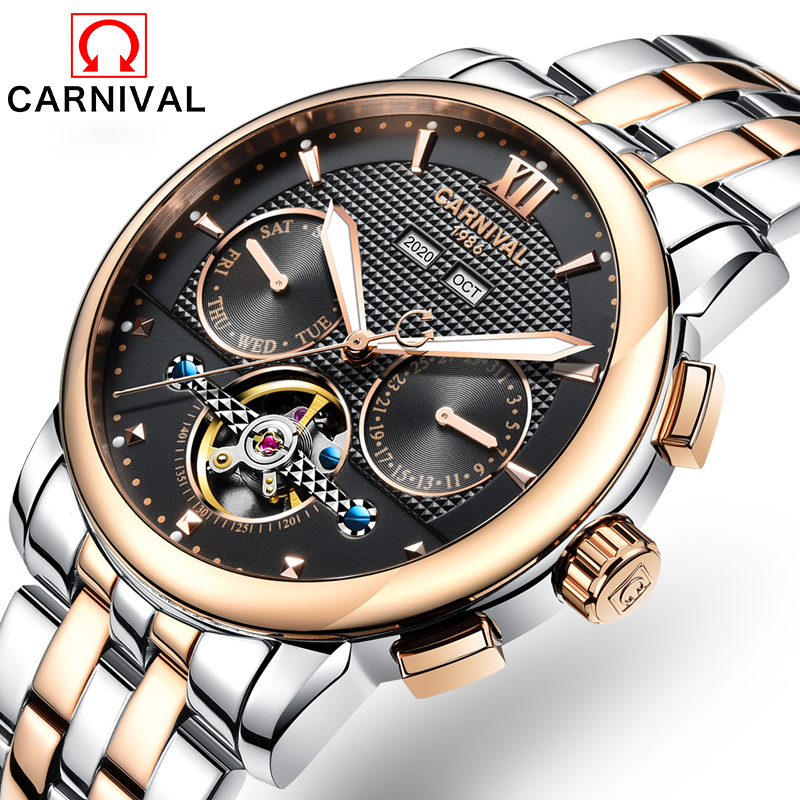 2018 New Skeleton Automatic Watch Men Waterproof Flying Tourbillon Mechanical Watches Mens Self Winding Horloges Mannen Dropship цена и фото