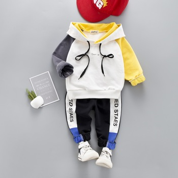 Toddler Baby Boy Casual Clothing Set Hooded Sweatshirt Long Sleeve Patchwork Kids Outfits Child Pullover Tracksuit Suits  1- 4 Y