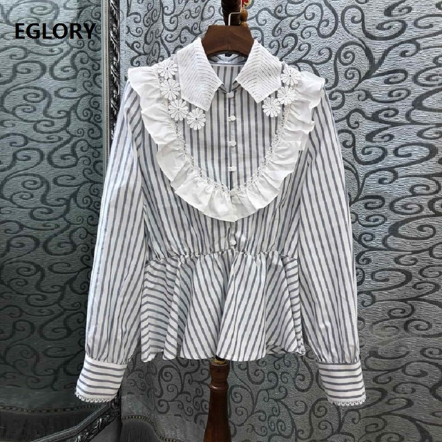 High Quaity Cotton Shirts 2019 Spring Summer Blouses Women Turn-down Collar Striped Print Lace Embroidery Casual Tops Shirt Lady