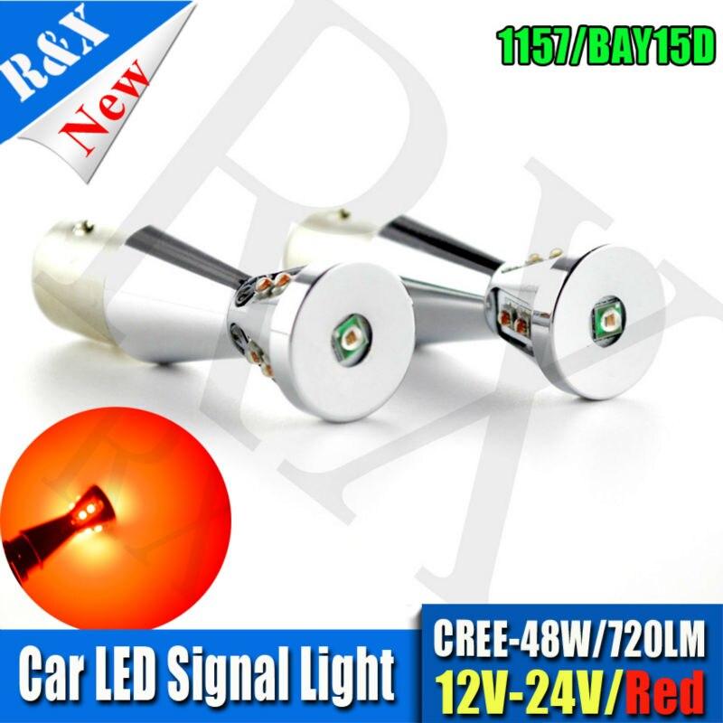 2x48W 1157 BAY15D P21/5W 9SMD XBD LED Auto Car Brake Tail Stop Light Lamp Bulb 12-24VDC Red White Amber