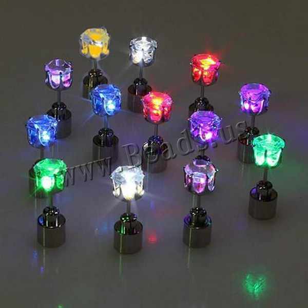 1 pair Free Shipping Hot Cool Fashion Light Up LED Bling Earrings Ear Studs Dance Party Accessories Blinking