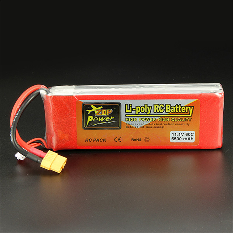 Hot Sale ZOP Power 11.1V 5500mAh 3S 60C Lipo Battery XT60 Plug Rechargeable Lipo Battery RC Battery For RC Helicopter Part high quality zop power 14 8v 2200mah 4s 45c lipo battery t plug rechargeable lipo battery for rc helicopter part