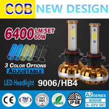 2pcs 3 Color Optional universal kit 9006 HB4 30w 6000K Car Led Head Lamp Bulb 3200LM with COB chips LED headlight free shipping