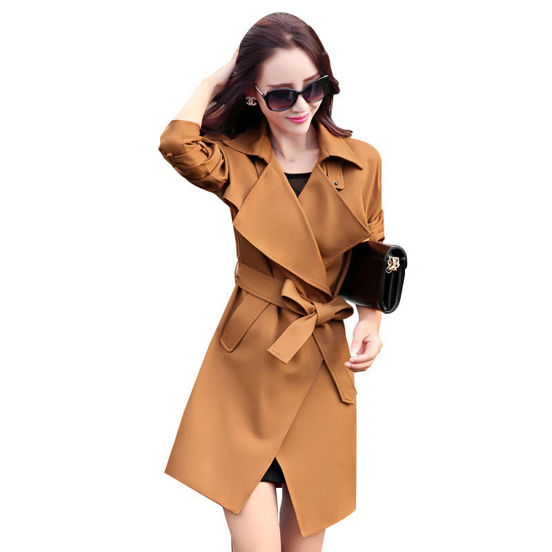 Hot Sell 2018 Autumn And Winter New Women 's Coat Fashion Casual European Large Lapel Belt Decorated Long   Trench   Coat Female