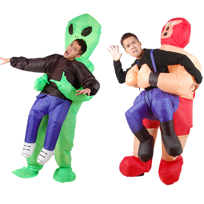 Green Alien Inflatable Cosplay Costumes ET Inflated Garment Halloween Christmas Carnival Football Party Clothes Fun Toy Dress Up
