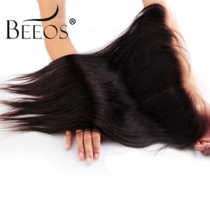 Beeos Closure Hair Lace-Frontal Free-Part Knots Bleached Straight Ear-13x4 Brazilian