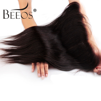 Beeos Ear to Ear 13X4 Lace Frontal Closure Free Part With Baby Hair Brazilian Straight Human Hair Remy Hair Bleached Knots