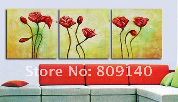 free shipping abstract Red flower oil painting canvas decoration ...