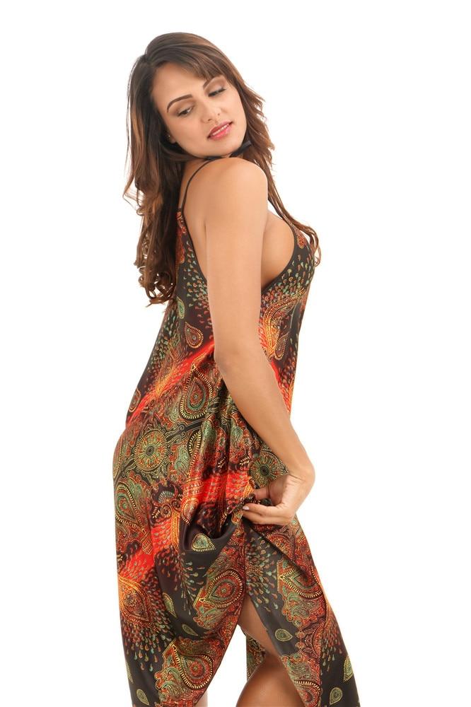 Hot Sale Female Rayon Spaghetti Strap Nightgowns Summer Sexy Print Nightdress Nightwear Women Sleepwear Nighties One Size JA20