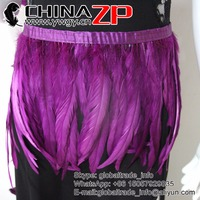 CHINAZP New Arrival Intensive Quality Dyed Purple Rooster Feather Trim FOR SALE