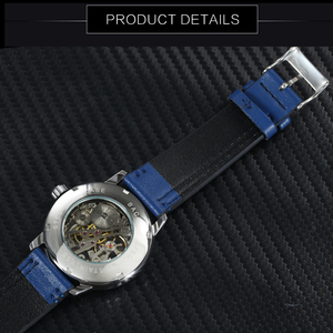 Image 4 - WINNER Official Fashion Minimalist Blue Mechanical Watch Men Leather Strap Casual Ultra Thin Mens Watches Top Brand Luxury Clock