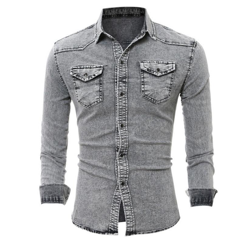 2018 Fashion Shirts Men Jeans Top Long Sleeve Casual Slim Fit Stylish Wash  Vintage Denim Shirts Tops|shirt men|long sleeveshirt men shirt - AliExpress