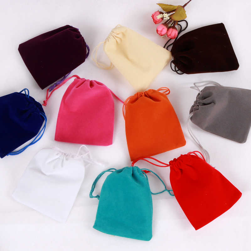 Large Stock 1pcs Cheap Velvet Bags For Fashion Jewelry Toys Cosmetic Clothes Packaging Storage Custom Jewelry Gift Bag Pouches