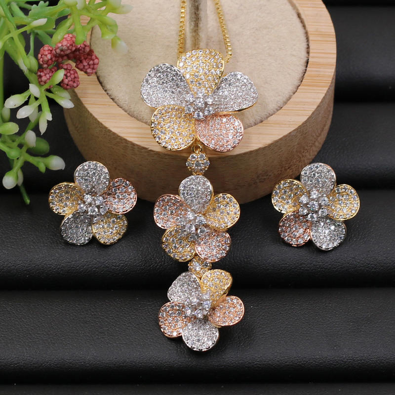 Lanyika Jewelry Set Graceful Classic Flower Cubic Zircon Micro Paved Necklace With Earrings For Engagement Party Bridal Gifts