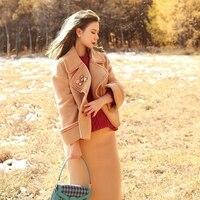 LYNETTE S CHINOISERIE 2017 Autumn Winter Women Camel Embroidery Woolen Short Coats
