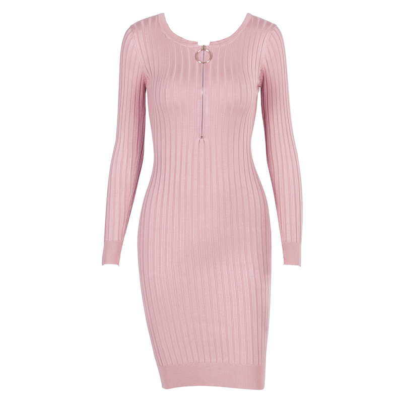 Zipper Knitted Wear Long Sleeve Round Body Dress For Women Knee Length Winter Vintage Knit Clothes  WS5353U stylish round neck long sleeve stereo flower embellished knitted dress for women