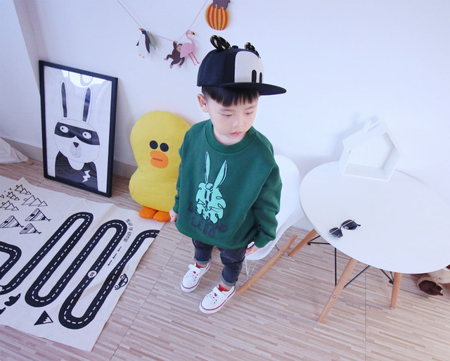2016 new Autumn  fashion bobo choses children's full sleeve t-shirt  Baby cotton rabbit  pattern Tops boy  girls Tee clothes