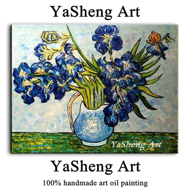100 Hand Painted Oil Painting On Canvas Irises Vase Vincent Van
