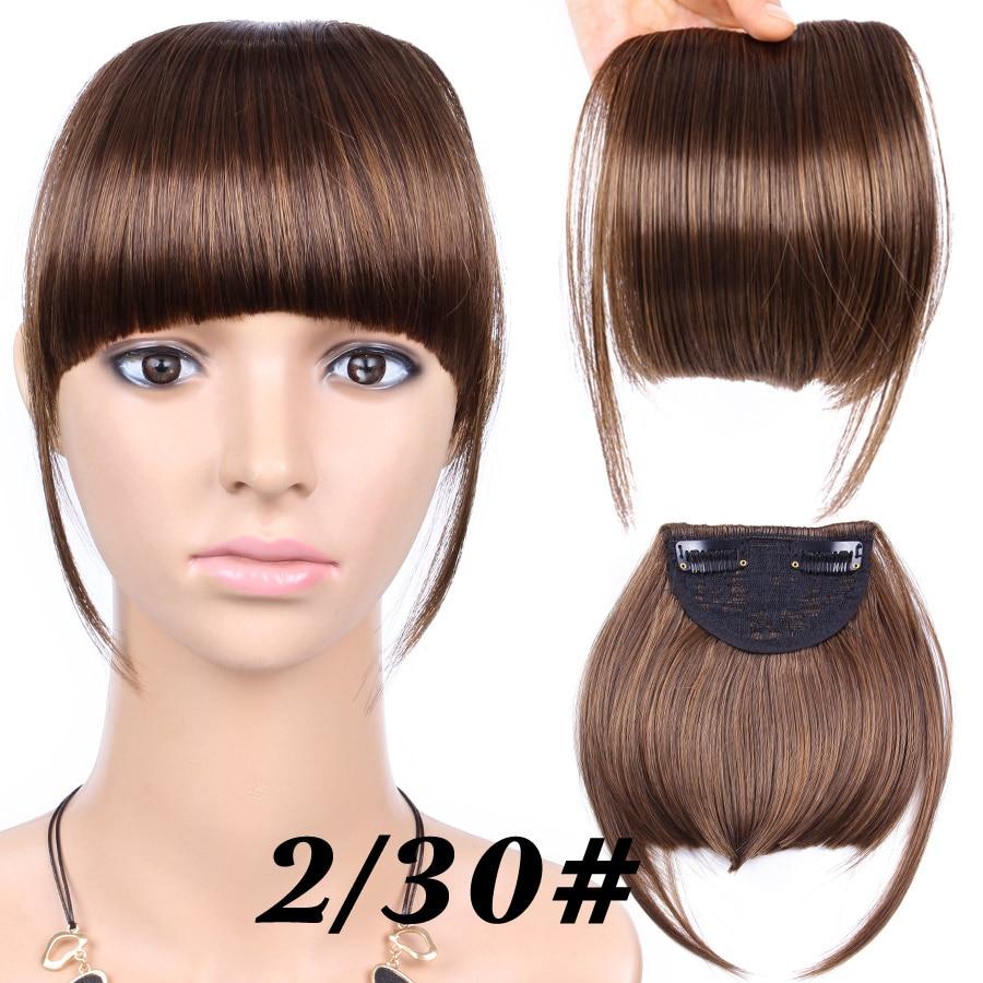 Alileader короткие передние аккуратные челки поддельные бахрома клип в наращивание волос с высокой температурой синтетическое волокно черный коричневый блонд - Цвет: 2-30
